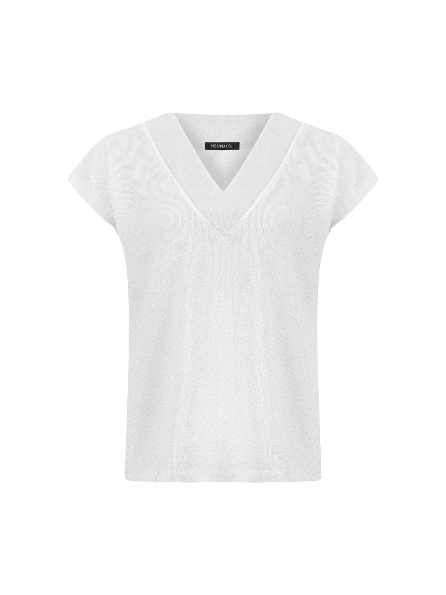 Ekru Piye Geçişli Tshirt