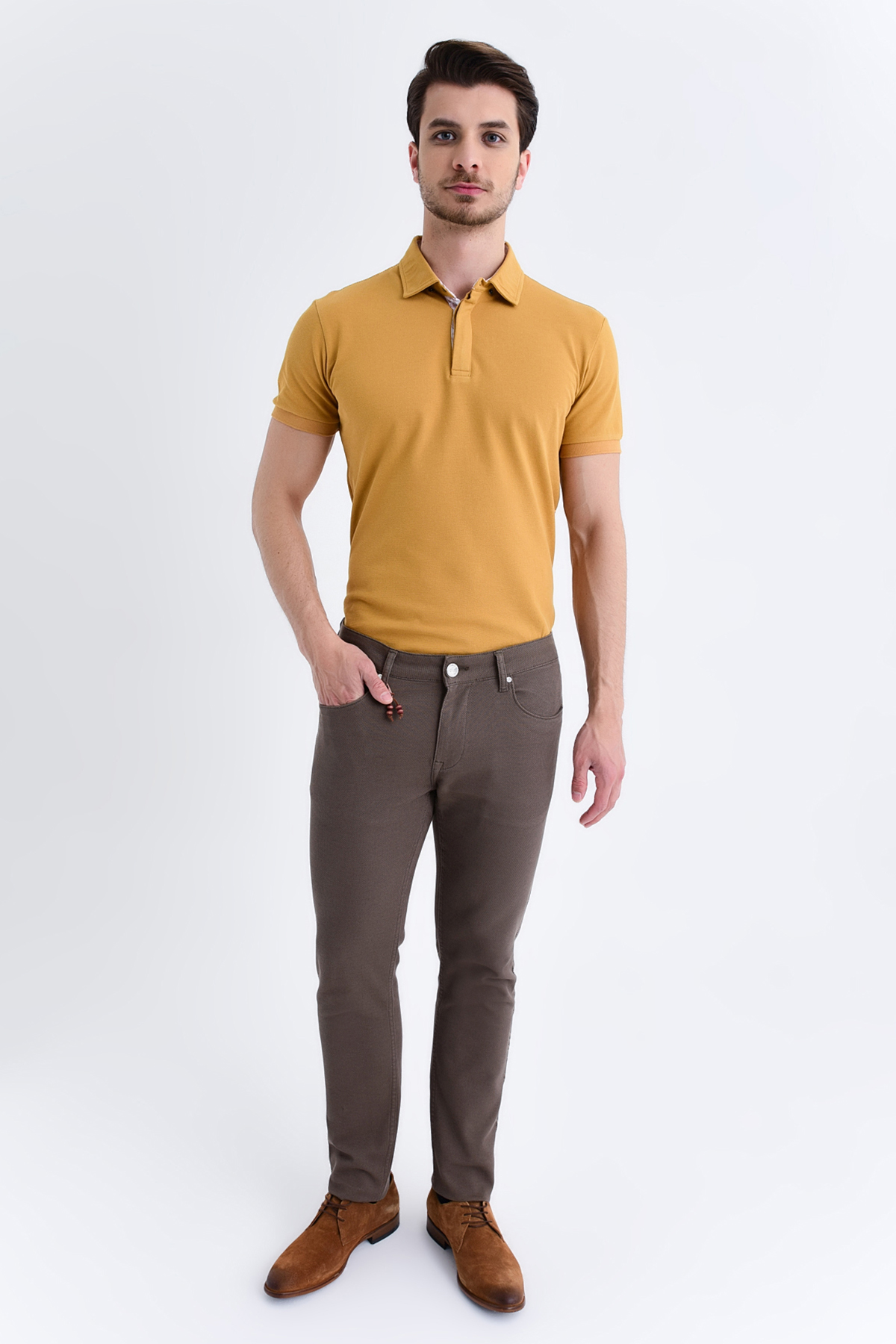 Desenli Slim Fit Pantolon