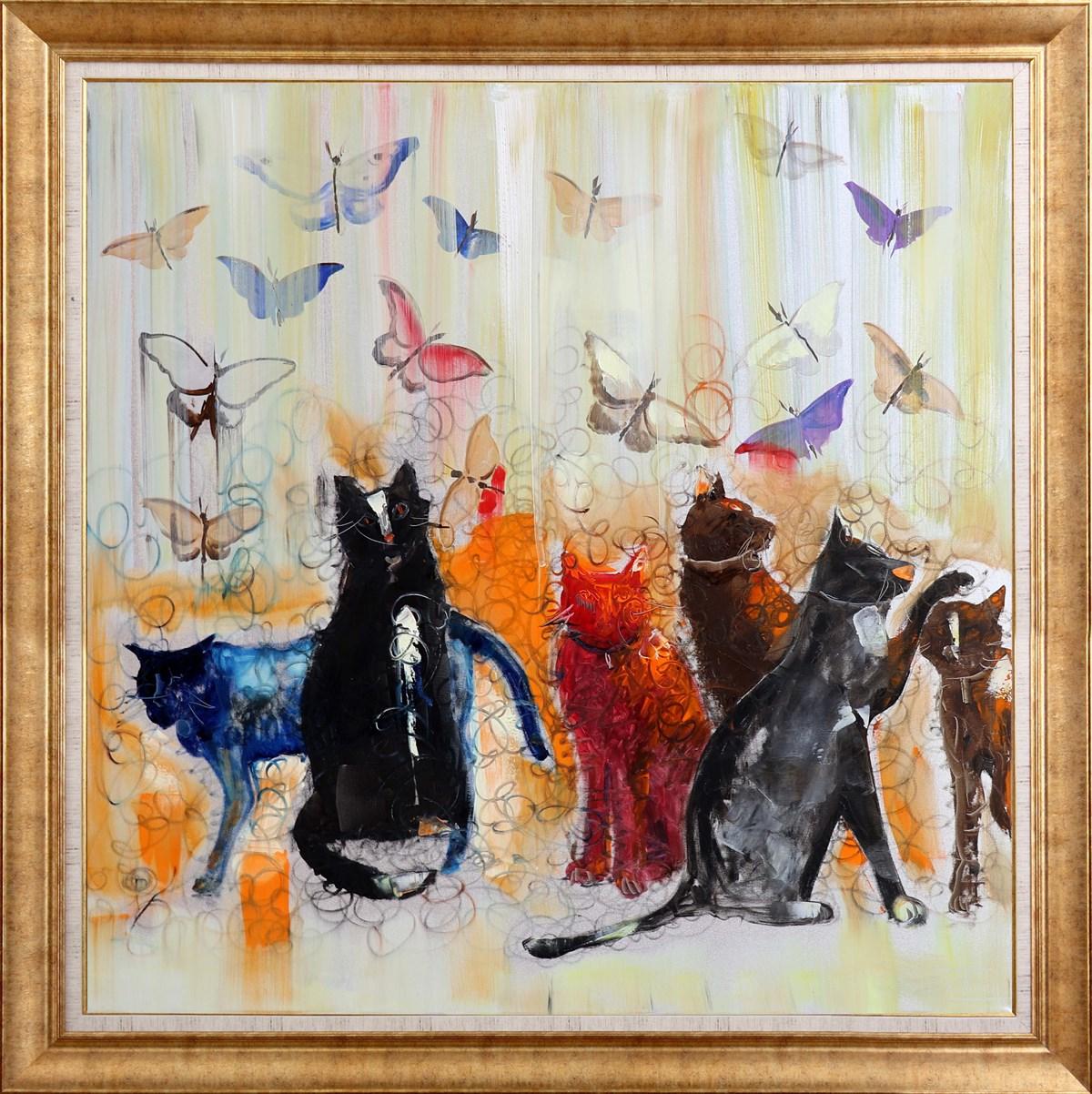 Kelebekler ve Kediler | Yağlı Boya Tablo