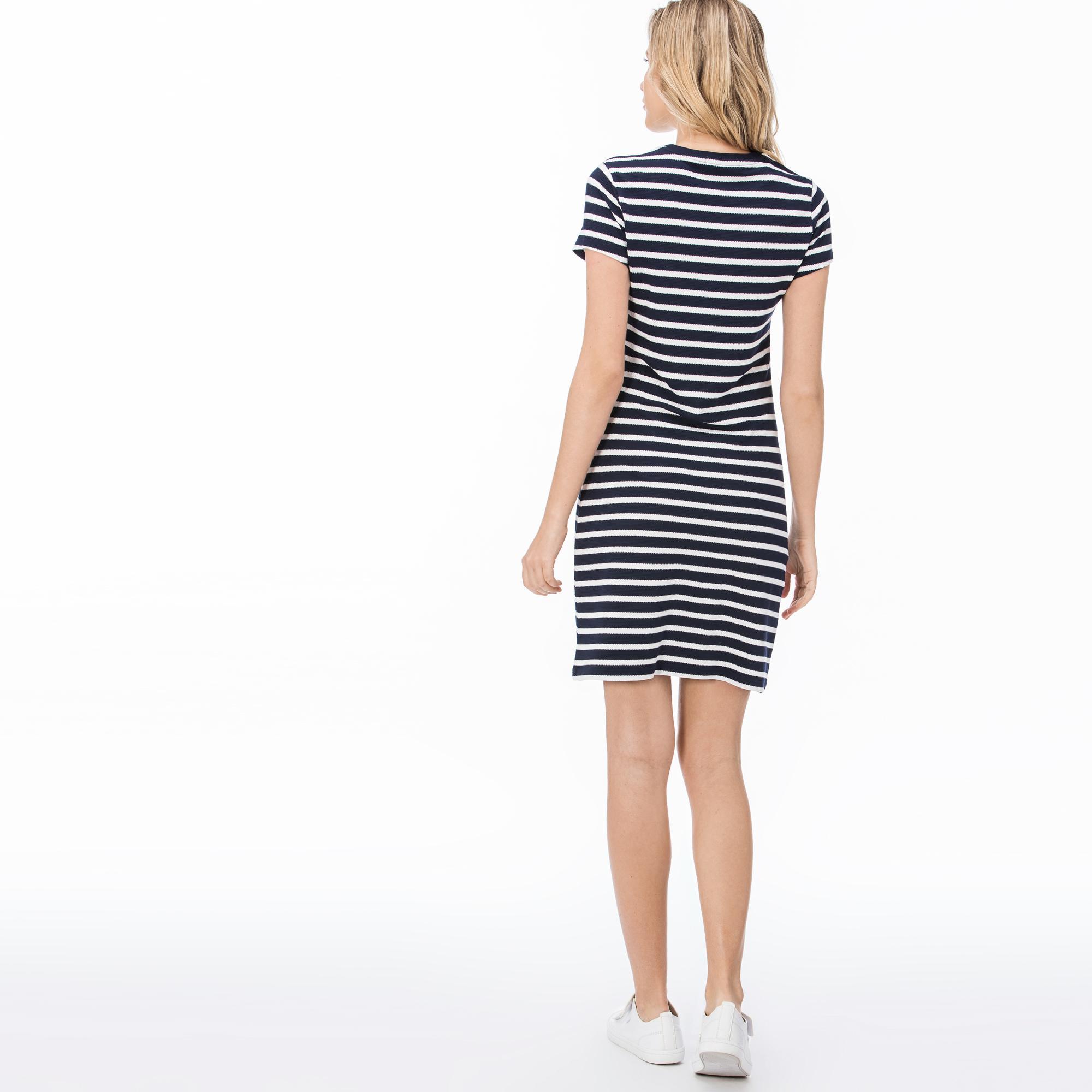 Lacoste Kadın Mavi -Beyaz Elbise