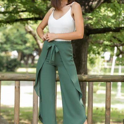 Yeşil Bağlama Detaylı Pantolon