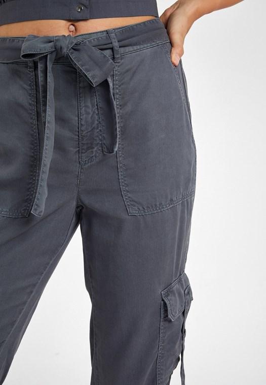 Gri Cep Detaylı Kargo Pantolon
