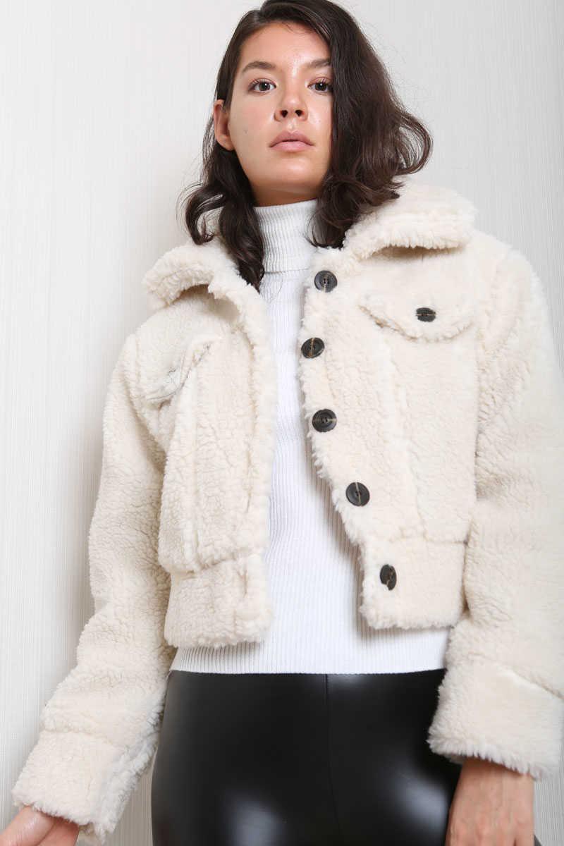 Ekru Kadın Peluş Ceket