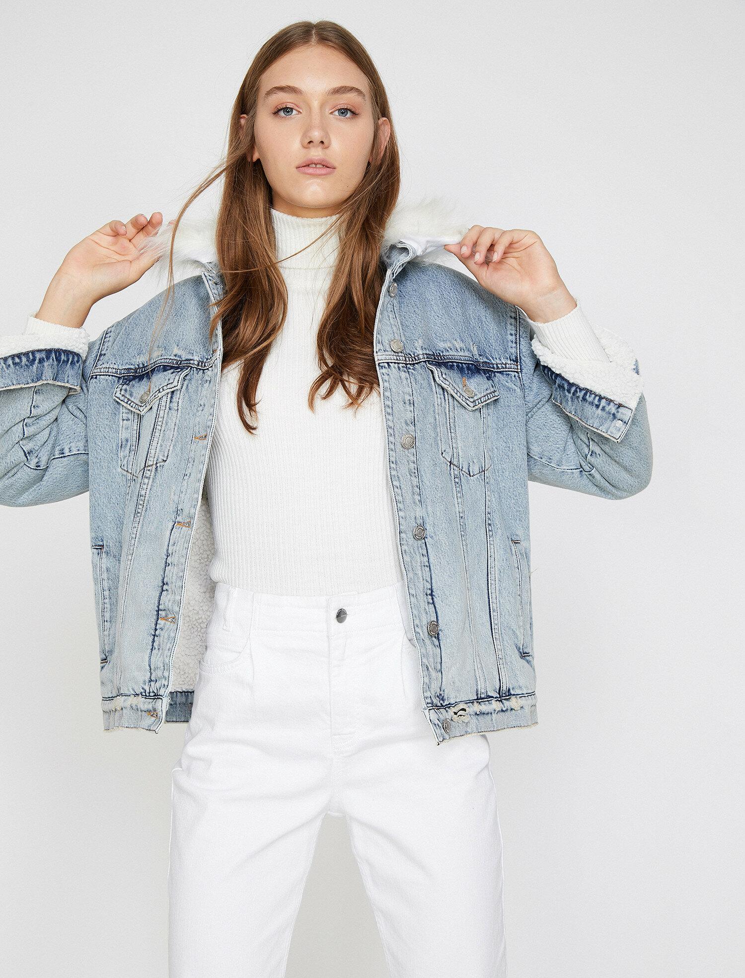 Suni Kürk Detaylı Jean Ceket
