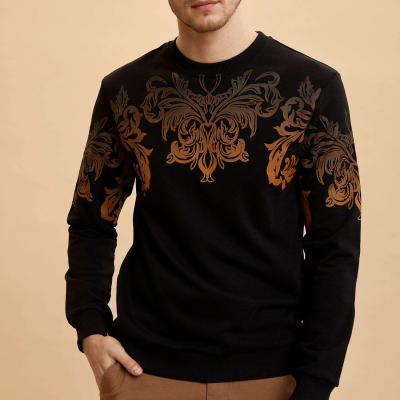 Barok Baskılı Slim Fit Sweatshirt