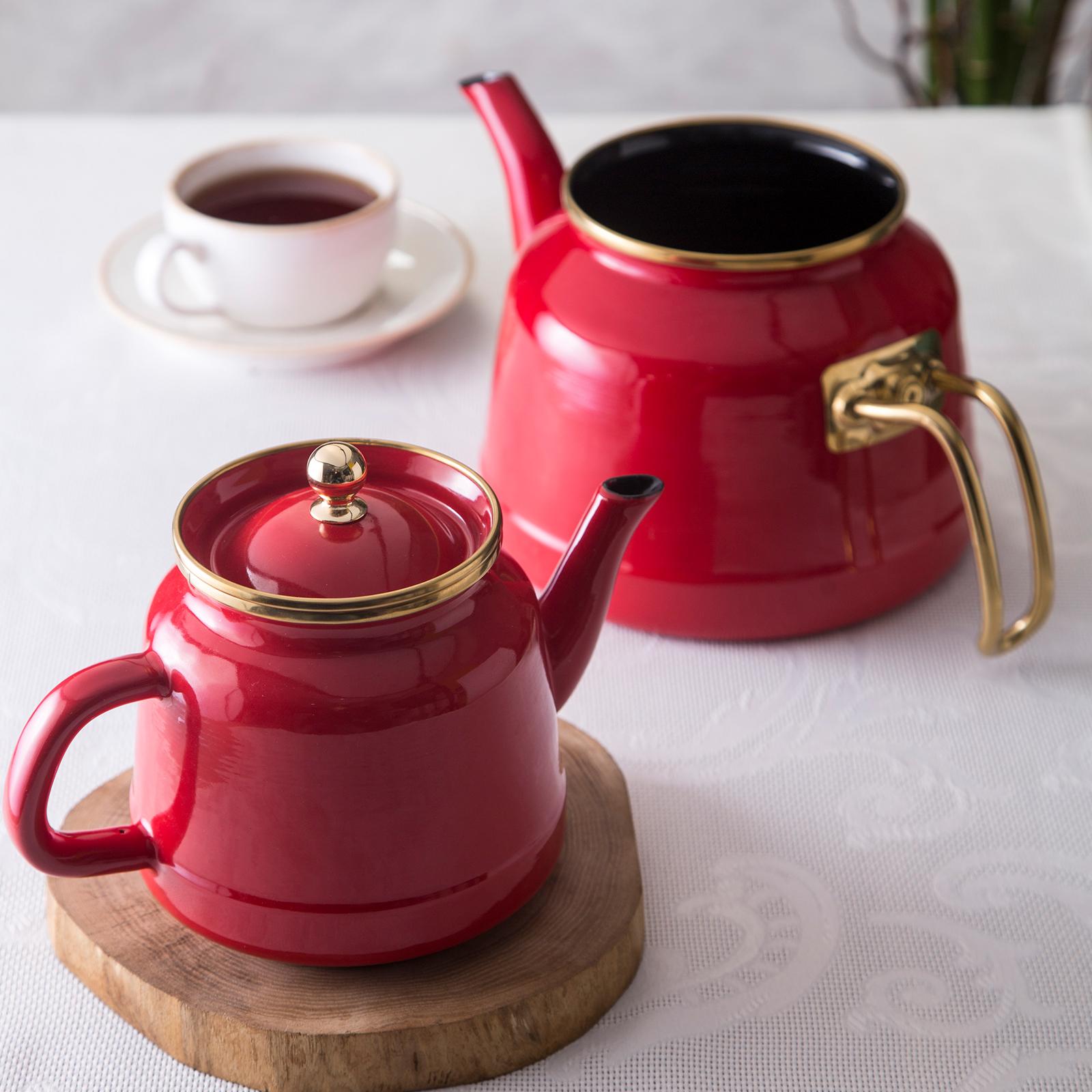 Emsan Troy Emaye Çaydanlık Takımı Kırmızı-