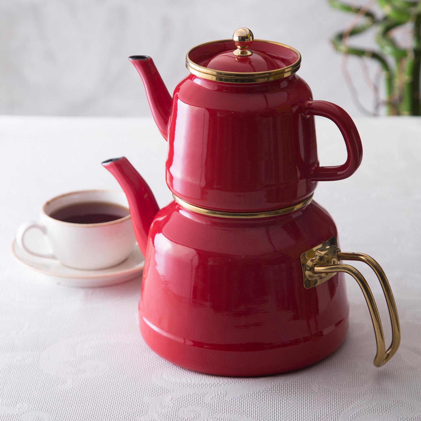 Emsan Troy Emaye Çaydanlık Takımı Kırmızı