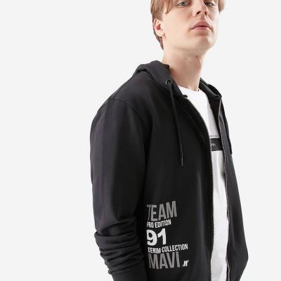 Fermuarlı Siyah Sweatshirt---