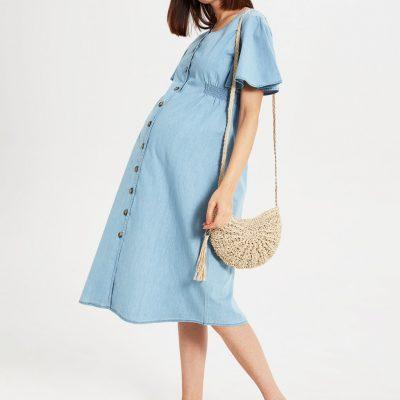 Hamile Düğme Detaylı Jean Elbise-