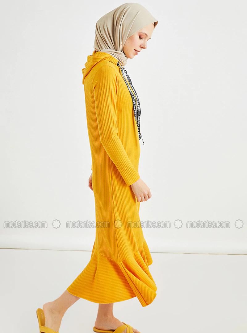 Kapüşon Detaylı Elbise - Hardal-