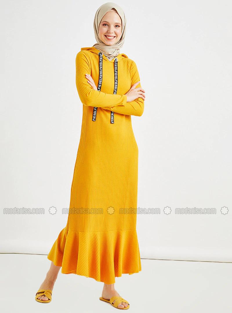 Kapüşon Detaylı Elbise - Hardal