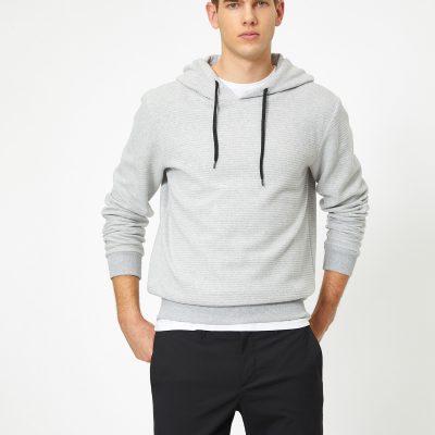 Kapüşonlu Yumuşak Dokulu Kumaş Basic Sweatshirt