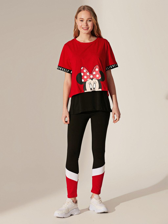 Minnie Mouse Baskılı Pamuklu Tişört Ve Atlet-
