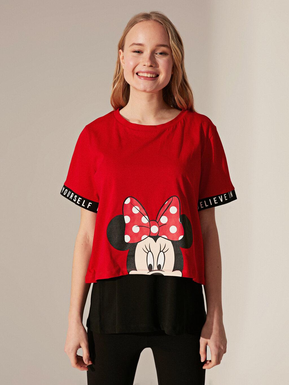 Minnie Mouse Baskılı Pamuklu Tişört Ve Atlet