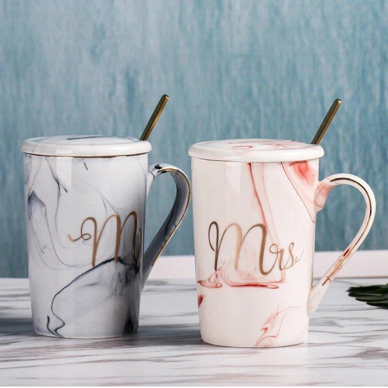 Mr&Mrs Porselen Kaşıklı Kupa