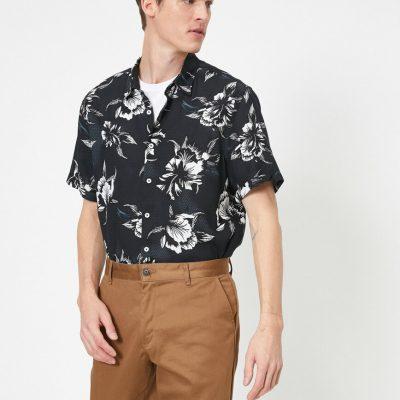 Çiçek Desenli Kısa Kollu Regular Fit Gömlek--