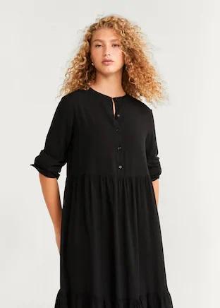 Düğmeli Midi Boy Elbise