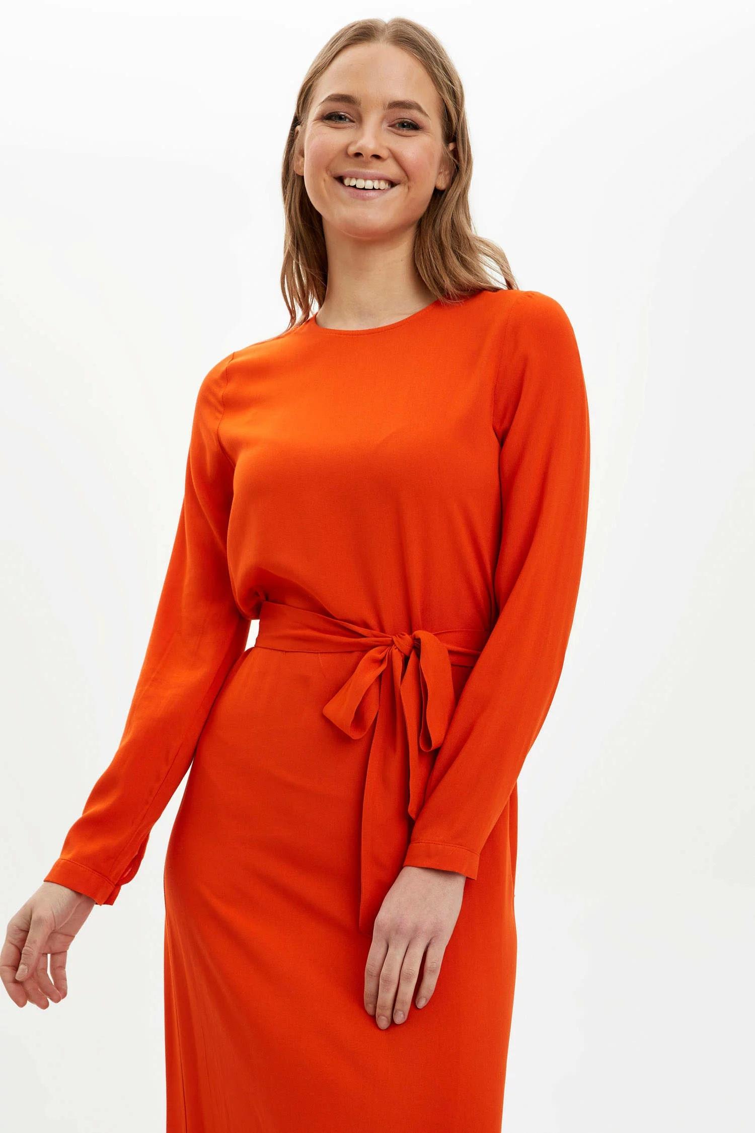 Desenli Regular Fit Dokuma Elbise-