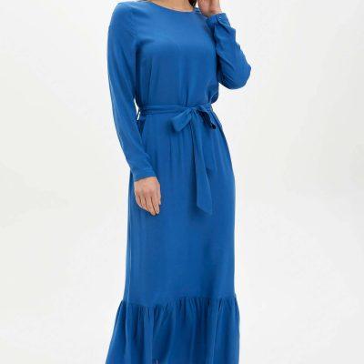 Desenli Regular Fit Dokuma Elbise