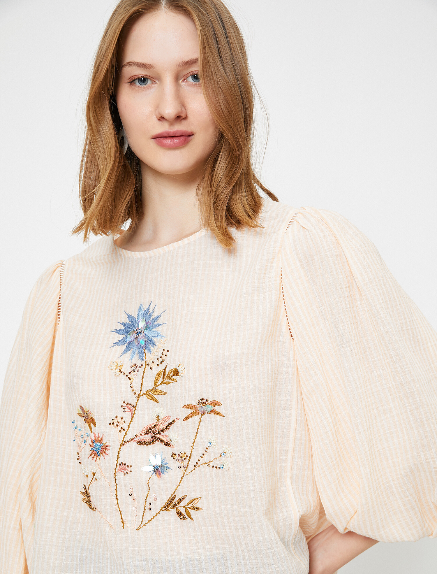 El Emeği Bluz - Turuncu Çizgili