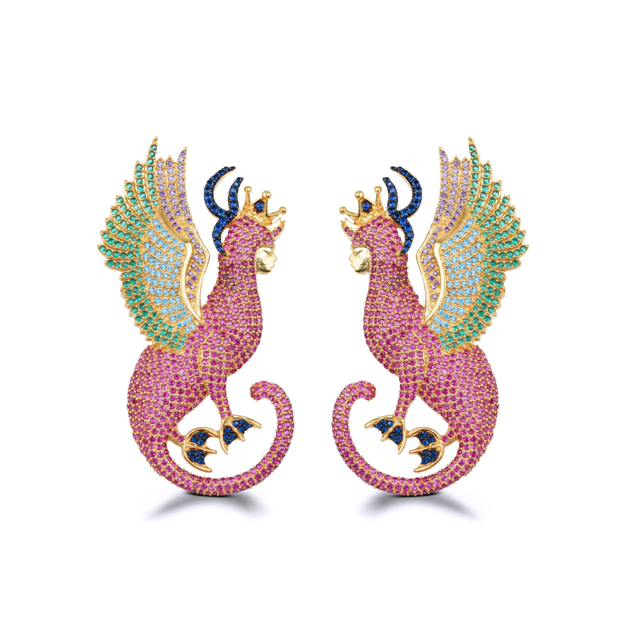 Mystery Of Art Pink Crystal Mitolojik Sfenks Küpe