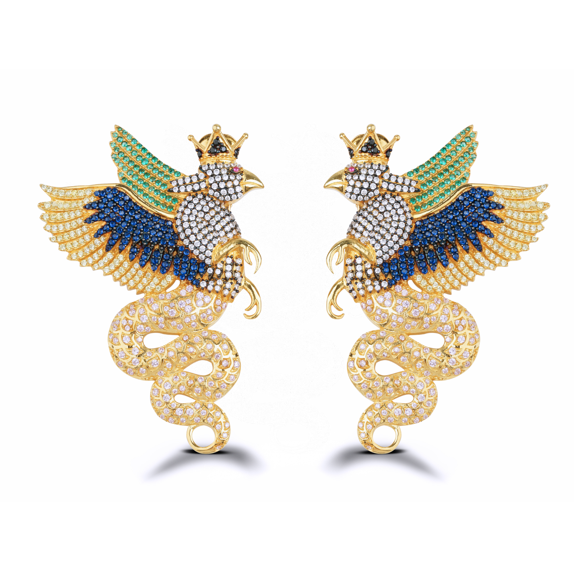 Power Of Spirit Navy & Green Crystal Elegan Kartal Küpe