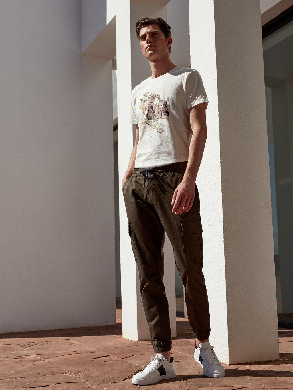 Slim Fit Gabardin Kargo Pantolon-