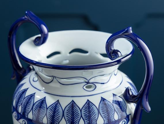 Béziers Bleu Blanc Dekoratif Obje-