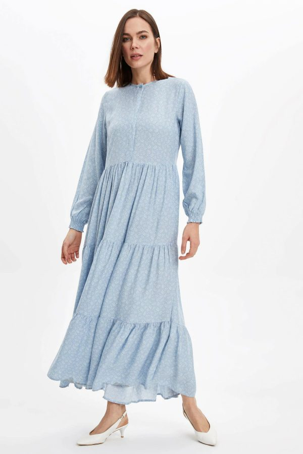 Kol Detaylı Dokuma Elbise-
