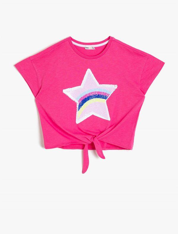 Pul Detaylı T-Shirt - Gül
