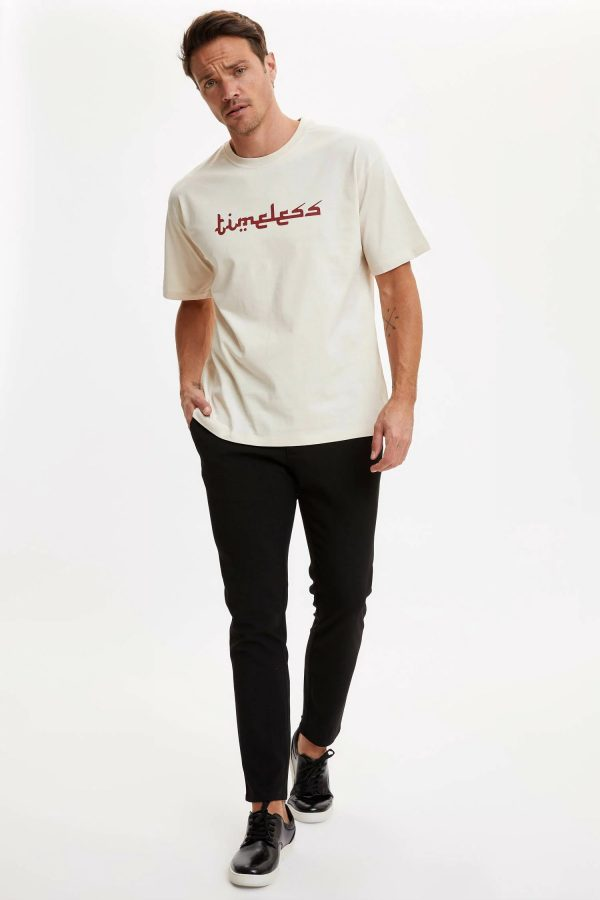 Tehzip Sanatı Yazısı Baskılı Boxy Fit Tişört-