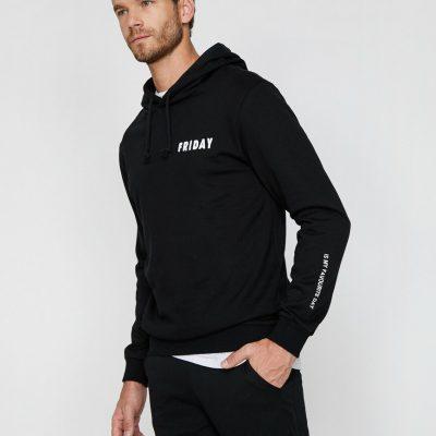 Yazılı Baskılı Sweatshirt - Siyah-