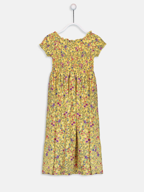 Kız Çocuk Çiçekli Viskon Elbise--