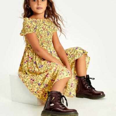 -Kız Çocuk Çiçekli Viskon Elbise