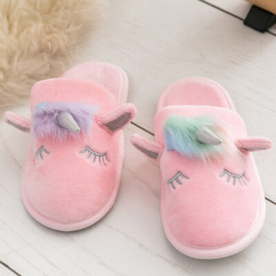 Kız Çocuk Unicorn Kadife Banyo Terliği-