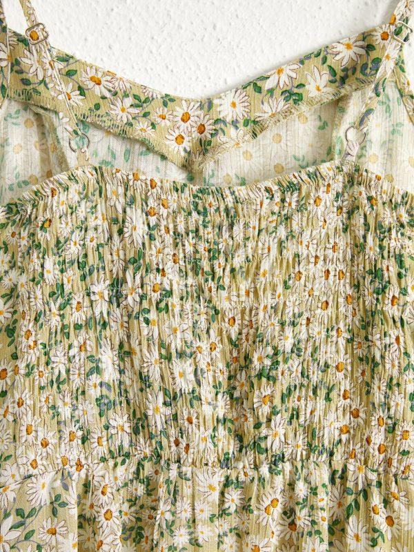 Çiçek Desenli Askılı Elbise 2