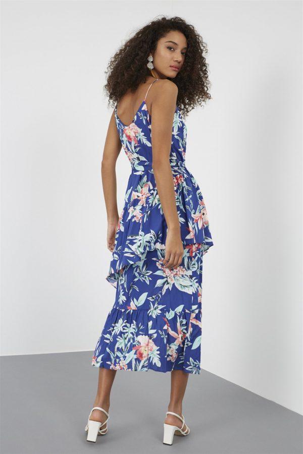 Mavi Yaka Kuşaklı Diz Altı Midi Boy Floral Desen Elbise 4