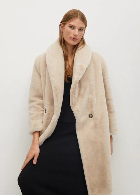 Tüylü Uzun Palto