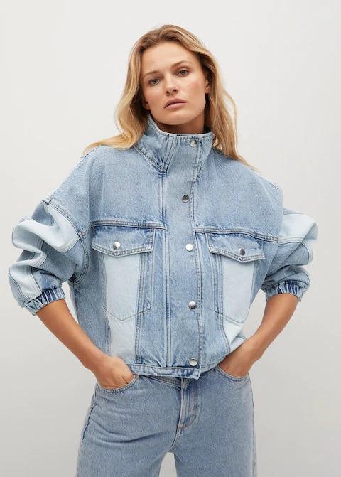 Parçalı Oversize Kot Ceket