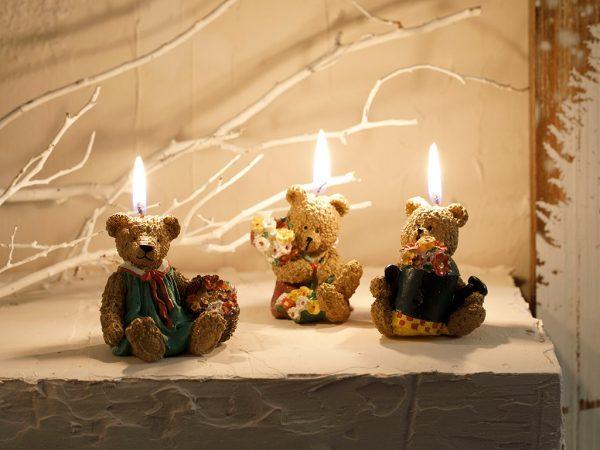 Teddy Bear Parafin 3'lü Mum 1