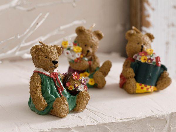 Teddy Bear Parafin 3'lü Mum 2