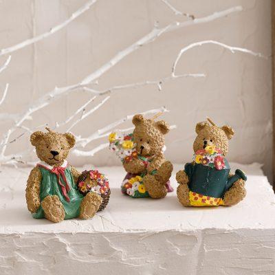 Teddy Bear Parafin 3'lü Mum