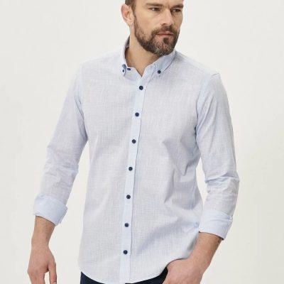 Tailored Slim Fit Dar Kesim Düğmeli Yaka 0 Koton Gömlek