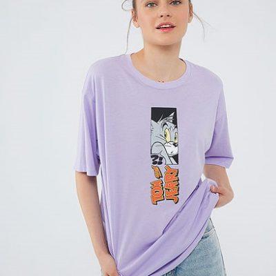 Tom Jerry Baskılı Mor Tişört