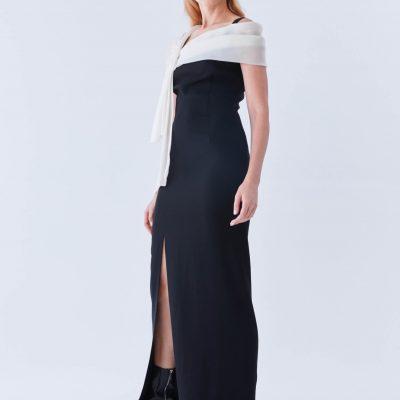 Beyaz Fular Detaylı Siyah Abiye Elbise